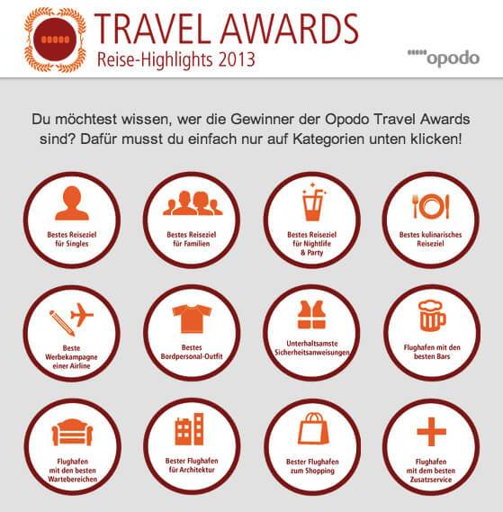 Abbildung Facebook Opodo Tab Travel Awards