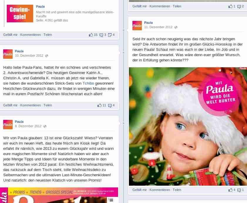 Pinnwandkommunikation Paula Magazin